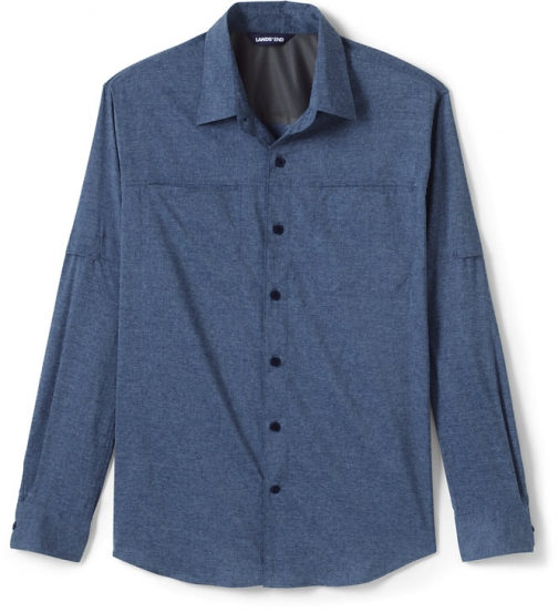 Lands' End Men's Traditional Fit Roll Sleeve Outrigger Hiking - Lands' End - Blue - S Shirt