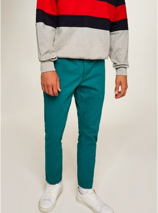 Topman Mens Green Woven Joggers, Green Athletic Pant