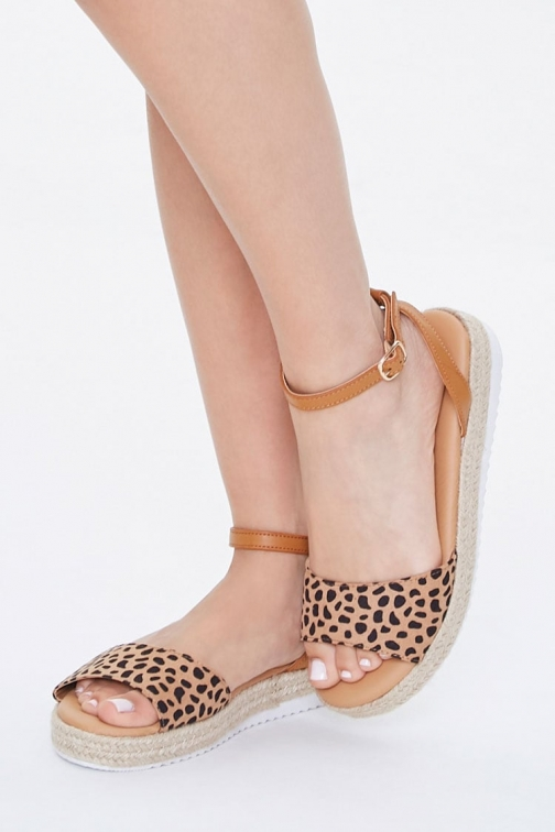 Forever21 Forever 21 Cheetah Print Espadrille , Black/brown Sandals