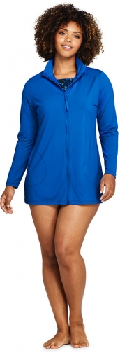 Lands' End Women's Plus Size Mock Neck Full Zip Long Sleeve Rash Guard UPF 50 Sun Protection Swim Cover-up - Lands' End - Blue - 1X Swimwear