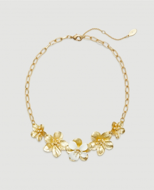 Ann Taylor Factory Floral Coated Statement Necklace