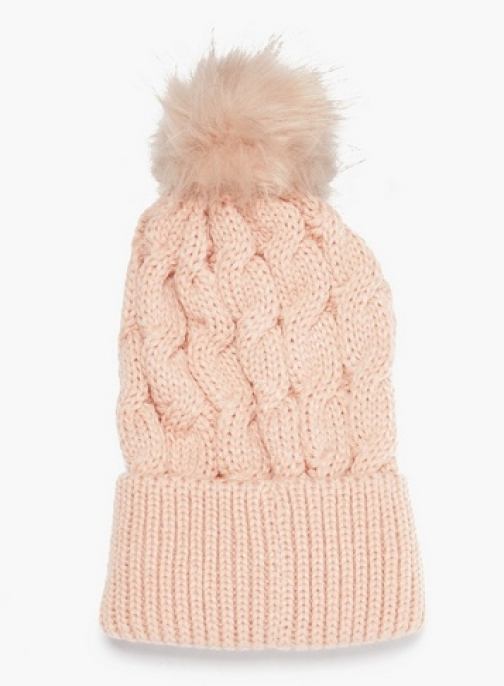 Dorothy Perkins Pink Cable Knit Pom Hat