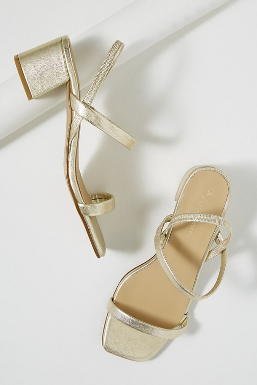 Anthropologie Strappy-Leather Block Heels Shoes