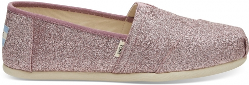 Toms Rose Glow Iridescent Glitter Women's Classics Slip-On Shoes