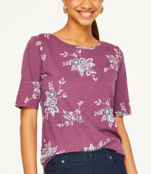 Loft Bouquet Elbow Sleeve Tee T-Shirt