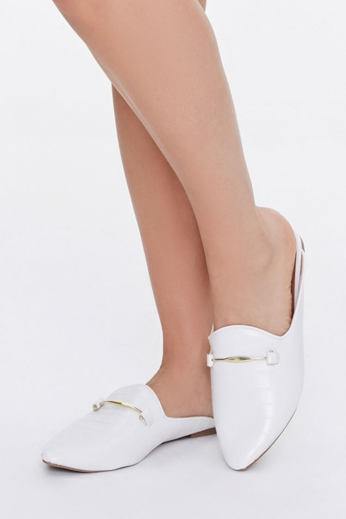Forever21 Forever 21 Faux Leather Loafer Mules , White Shoes