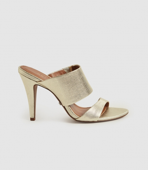 Reiss Nela - Leather Strap Gold, Womens, Size 3 Sandals