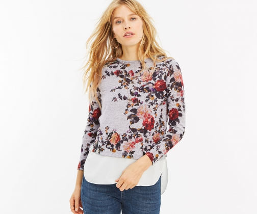 Oasis Floral Top With Underlay Shirt
