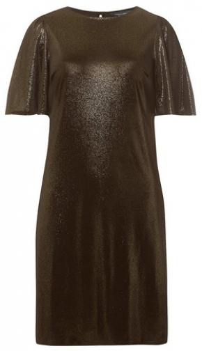 Dorothy Perkins Womens **Tall Gold Glitter Velvet Shift - Gold, Gold Dress