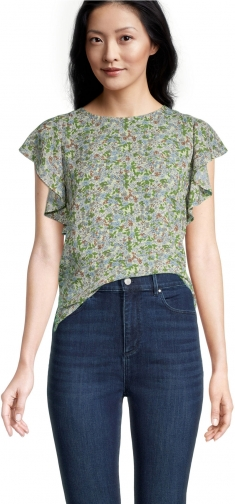 Ann Taylor Factory Petite Floral Ruffle Sleeve Shell Top