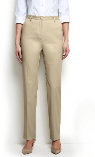 Lands' End Women's Straight Fit Plain 7 Day Pants - Lands' End - Tan - 2 Chino
