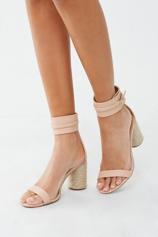 Forever21 Forever 21 Braided Chunky Heels , Nude Shoes