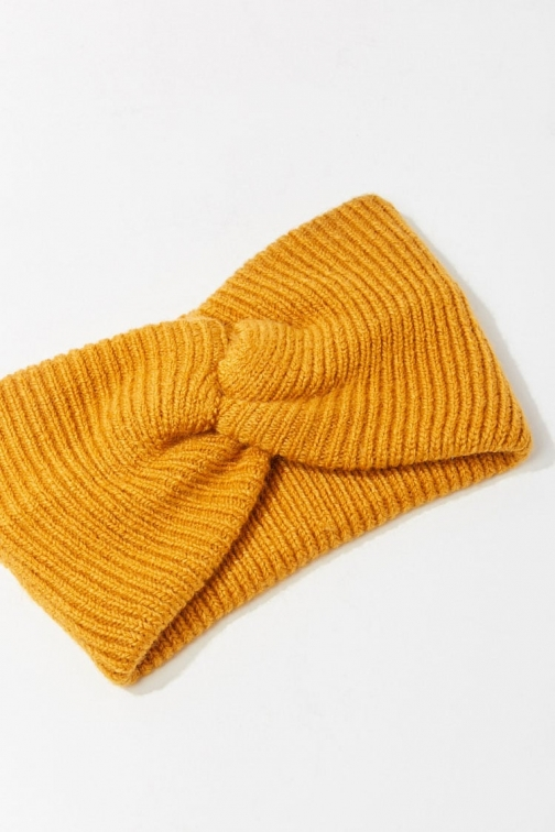 Forever21 Forever 21 Twisted Ribbed Headwrap , Mustard Headwear