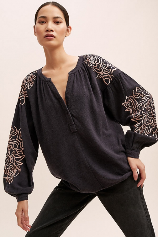 Anthropologie Flo Embroidered-Silk - Blue, Size Blouse