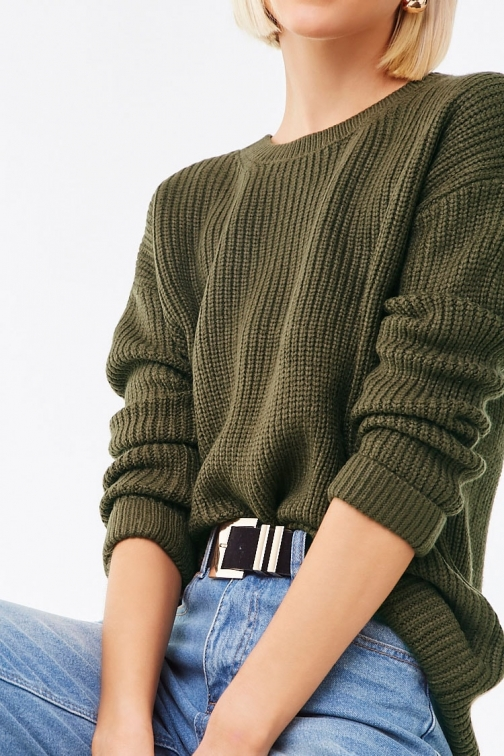 Forever21 Forever 21 Purl Knit Sweater , Olive Sweatshirt