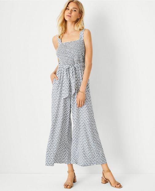 Ann Taylor Tall Floral Smocked Jumpsuit
