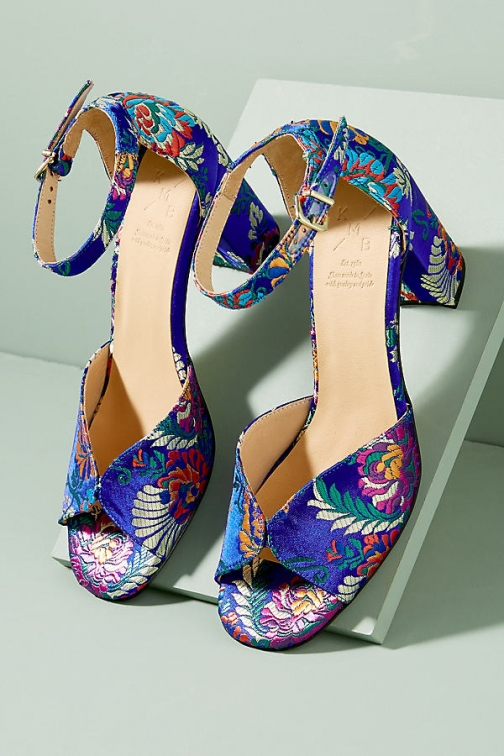 Anthropologie Enar Floral-Jacquard Block Heels Heeled Sandals