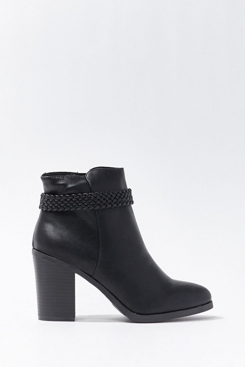 Forever21 Forever 21 Braided Faux Leather Booties , Black Boot