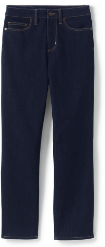 Lands' End Women's Petite Curvy Mid Rise - Blue - Lands' End - Blue - 2 26 Straight Leg Jeans