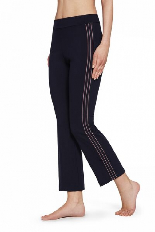 Calzedonia Cropped Flare With Side Insert Woman Blue Size M Legging