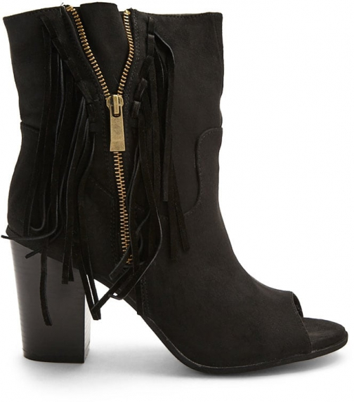 Forever21 Forever 21 Fringe Trim Booties Black Boot