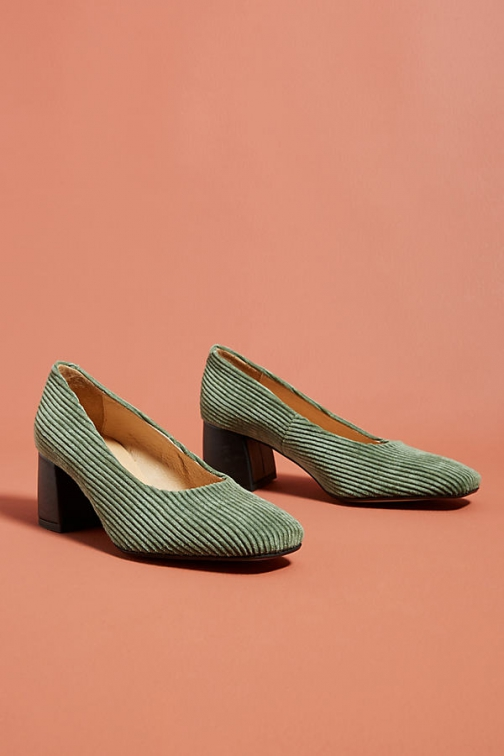 Anthropologie Corduroy Block Heels Heeled Sandals