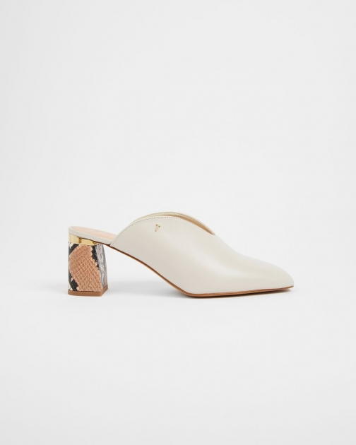 Ted Baker Imitation Snake Detail Leather Mule Shoes