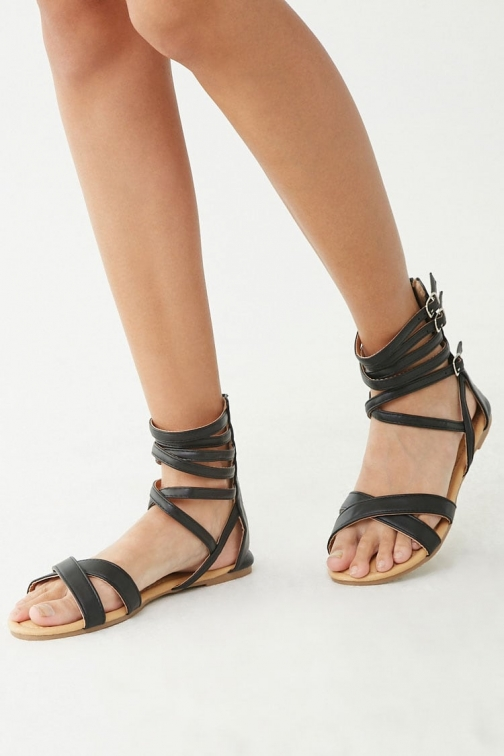 Forever21 Forever 21 Strappy Faux Leather , Black Sandals