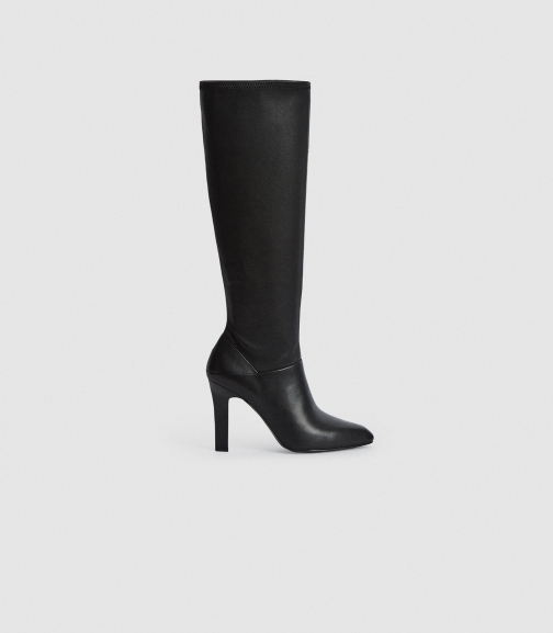 Reiss Cressida - Leather Black, Womens, Size 8 Knee High Boots