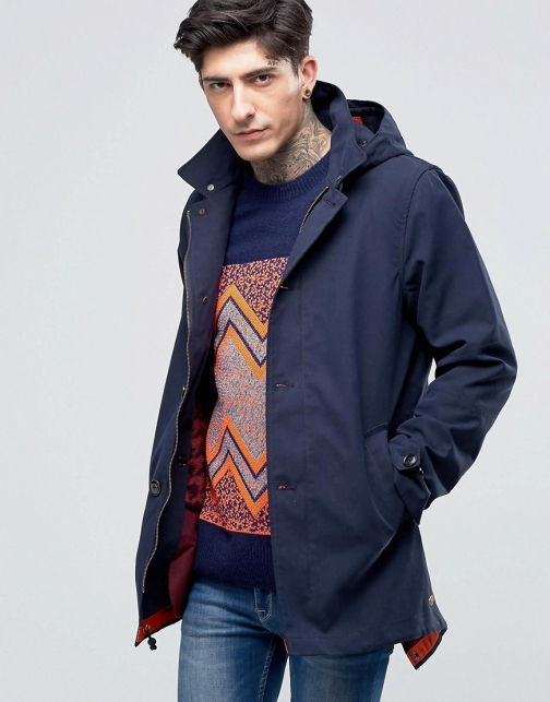 Scotch & Soda With Removable Lining & Hood Ink Parka