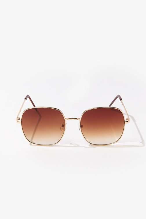 Forever21 Forever 21 Square Tinted , Gold/brown Sunglasses