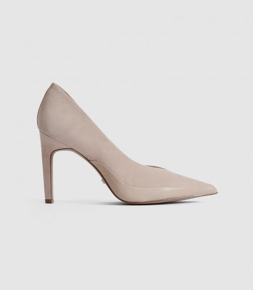 Reiss Alenna - Suede Shoes Taupe, Womens, Size 3 Court