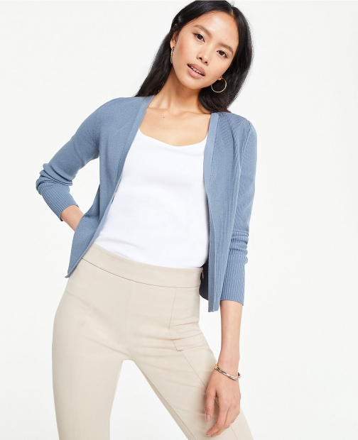 Ann Taylor Pointelle Cropped Cardigan