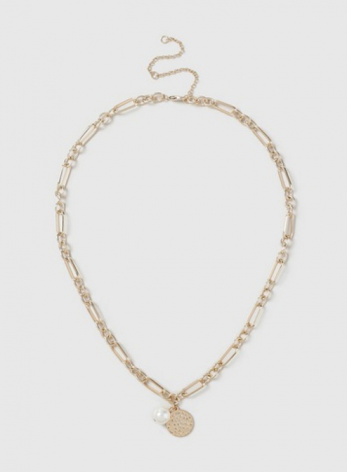 Dorothy Perkins Gold Chain And Pearl Look Necklace