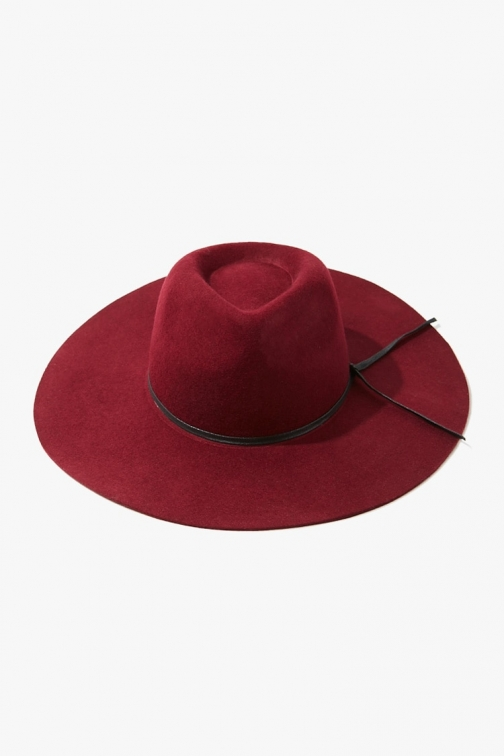 Forever21 Forever 21 Faux Leather-Trim Fedora , Burgundy Fedora Hat