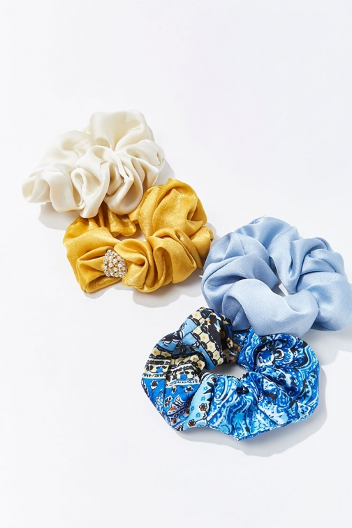 Forever21 Forever 21 Satin Scrunchie Set , Blue/multi Headwear