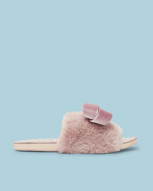 Ted Baker Faux Fur Oversized Bow Slippers