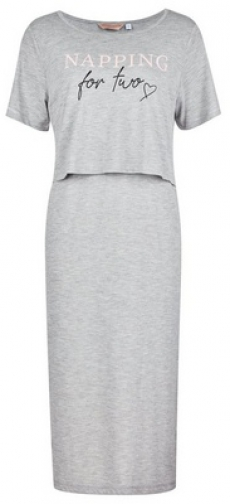 Dorothy Perkins Maternity Grey 'Napping For Two' Nursing Nightie Pyjama