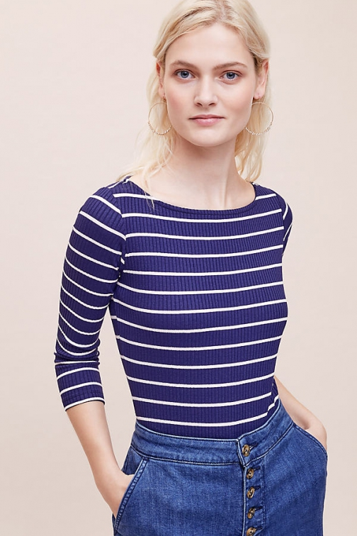 Anthropologie Mira Striped Bodysuit