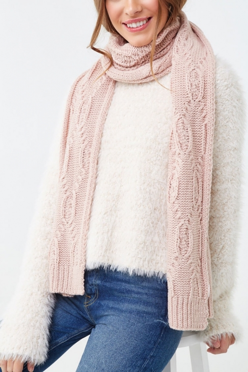 Forever21 Forever 21 Cable Knit Oblong , Dusty Pink Scarf