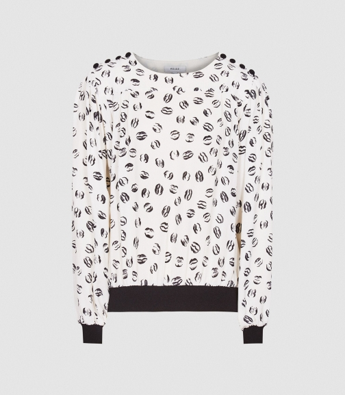 Reiss Jolie - Printed Ivory, Womens, Size 4 Blouse