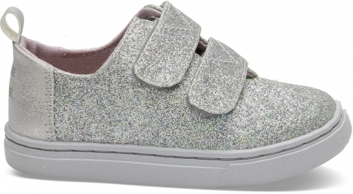 Toms Silver Iridescent Glitter Tiny TOMS Lenny Sneakers Shoes