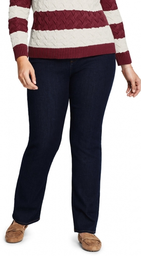 Lands' End Women's Plus Size Water Conserve Eco Friendly High Rise - Blue - Lands' End - Blue - 16W28 Straight Leg Jeans