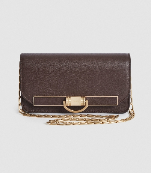 Reiss Lexi Small - Small Leather Baguette Brown, Womens Bag