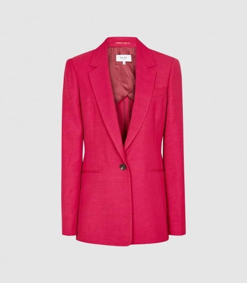 Reiss Ada - Linen Blend Single Breasted Dark Pink, Womens, Size 4 Blazer
