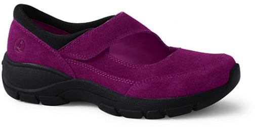 Lands' End Women's All Weather Suede Leather Mary Jane - Lands' End - Red - 6 Shoes