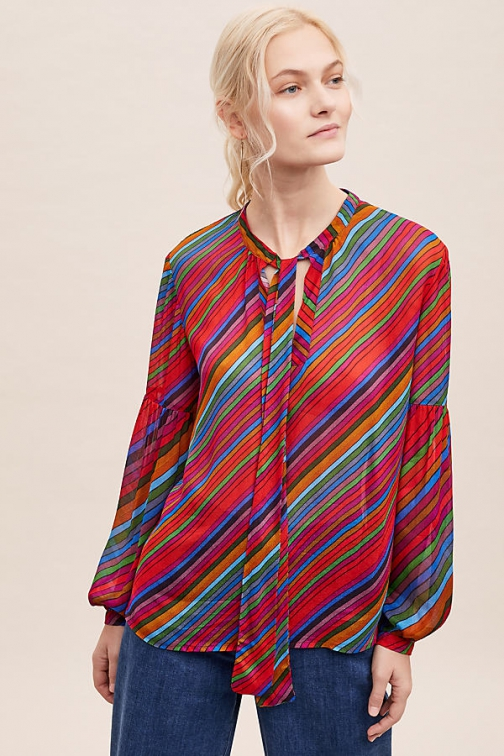 Conditions Apply Eva Striped Peasant Blouse