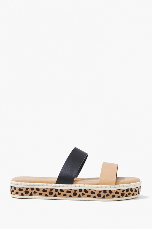 Forever21 Forever 21 Dual-Strap Cheetah , Black/brown Sandals