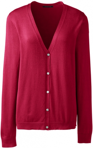 Lands' End Women's Performance Sweater - Lands' End - Red - XS Cardigan