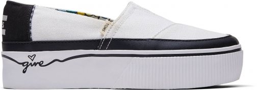 Toms Black And White Canvas Give Platform Women's Boardwalk Classics Venice Collection Slip-On Shoes